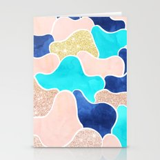 Color block faux gold turquoise pink watercolor Stationery Cards