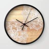 Wall Clock featuring White Doodles On Blonde … by Micklyn