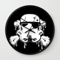 Pirate Trooper - Black Wall Clock