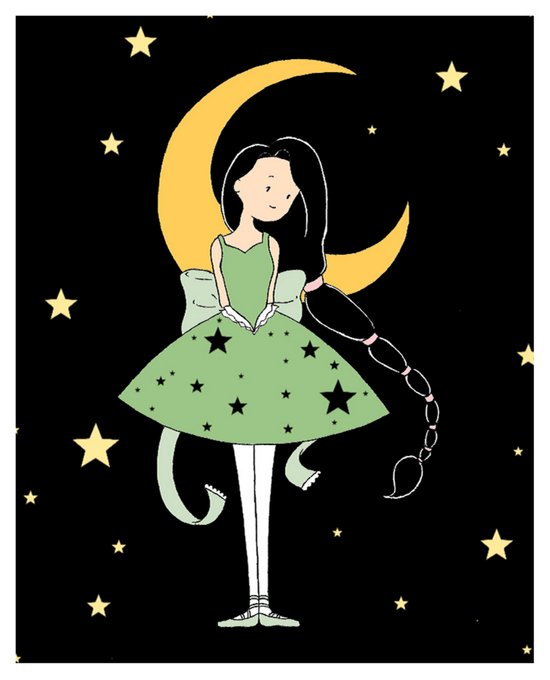 Moonlight Ballerina Art Print