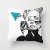 Throw Pillow featuring Triangles #1 Petrol by ArtLm