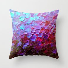 MERMAID SCALES - Colorful Ombre Abstract Acrylic Impasto Painting Violet Purple Plum Ocean Waves Art Throw Pillow
