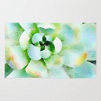 Mint Watercolor Succulent Rug