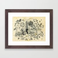 Grotesque Flora and Fauna Framed Art Print