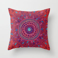 Red and Blue Mandala  Throw Pillow
