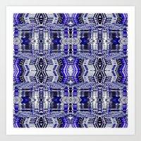Blue Tribal Glitch Art Print