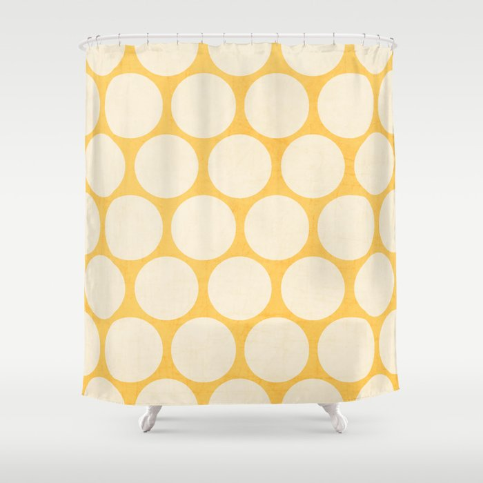 Yellow And White Polka Dots Shower Curtain By Her Art
