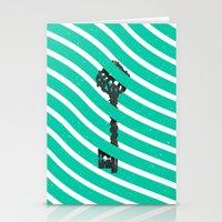 Teal White Zig Zag Stripes Pattern Black Wood Key Stationery Cards