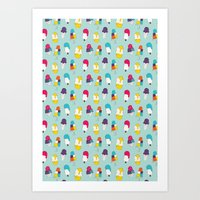 Ice cream pattern - light blue Art Print