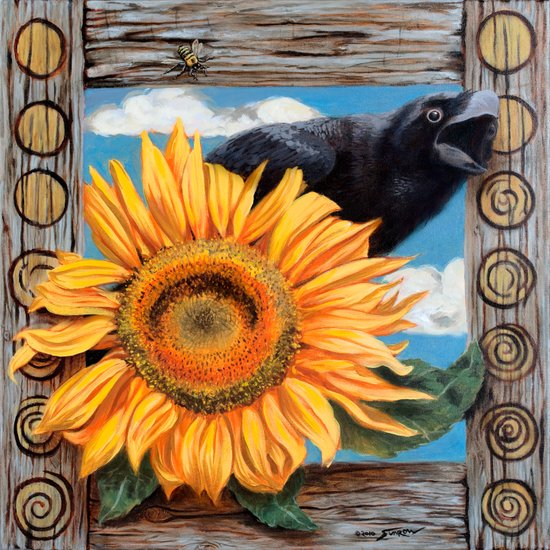 "Mr. Crow & Sunflower say ""Wake the f*** up!"" Canvas Print"