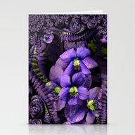 Ground Violet Fractal Stationery Cards