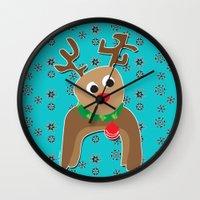 Santa's Reindeer Wall Clock