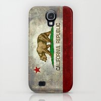 Galaxy S4 Cases featuring Californian state flag - The California Republic Bear flag in Retro style by BruceStanfieldArtist North America