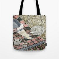 Autumn picnic with my cat Tote Bag