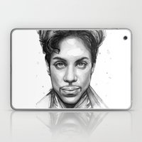 Prince Watercolor Black and White Portrait Laptop & iPad Skin