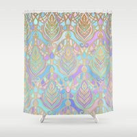 Jade & Blue Enamel Art Deco Pattern Shower Curtain