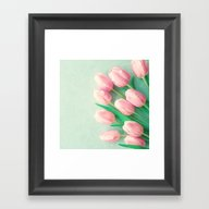 Mint Tulips Framed Art Print