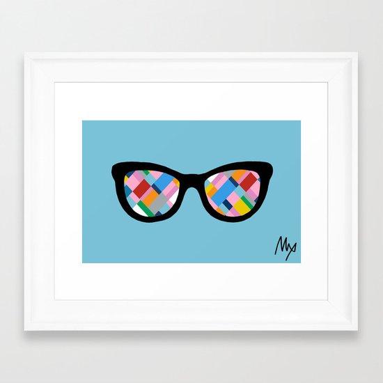 Map 45 Glasses on Sky Blue Framed Art Print