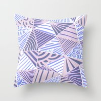 Drawn and digital ice blue triangle pattern print Throw Pillow