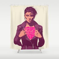 THE GIRL WITH THE DRAGON… Shower Curtain