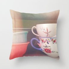 Coffee Cups Throw Pillow
