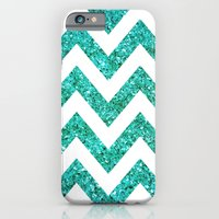iPhone & iPod Case featuring TEAL GLITTER CHEVRON by natalie sales