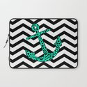 Mint Leopard Chevron Anchor Laptop Sleeve