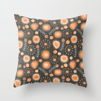 Whimsical flowers in orange Throw Pillow