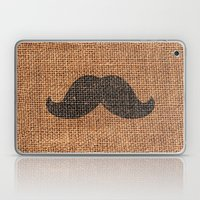 Black Funny Mustache on Brown Jute Burlap Texture Laptop & iPad Skin
