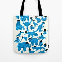 Blue Animals Black Hats Tote Bag