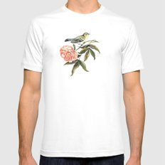 Watercolor illustration with bird and flower White Mens Fitted Tee SMALL