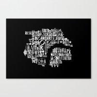 Alphabet Cities 001 - London (Monochrome) Canvas Print