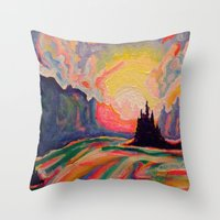 The Sun Is Setting At The Lake  Throw Pillow