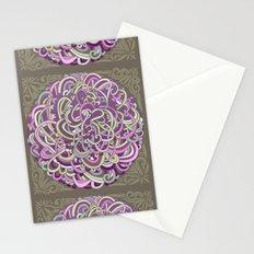 Detailed circlecorner, purple olive  Stationery Cards