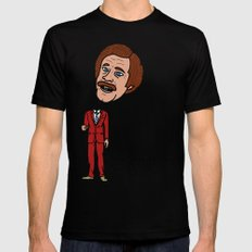 Ron Burgandy SMALL Black Mens Fitted Tee