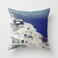 Santorini White & Blue Throw Pillow