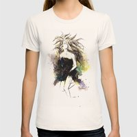 Watercolor Girl Womens Fitted Tee Natural SMALL