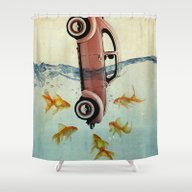 VW Beetle And Goldfish Shower Curtain