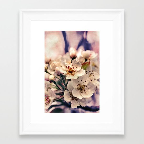 Blossoms at Dusk - vintage toned & textured macro photograph Framed Art Print