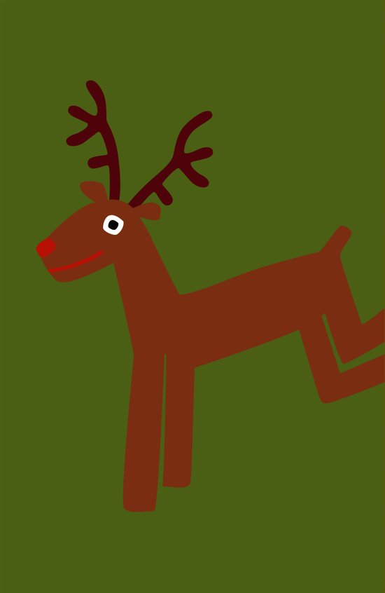 Reindeer-Green Art Print