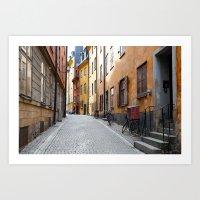 Stockholm. A Thin Street in Gamla Stan Art Print