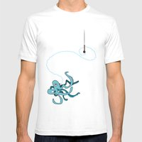Singing Octopus Mens Fitted Tee White SMALL