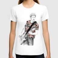 Floral Niall Womens Fitted Tee White SMALL