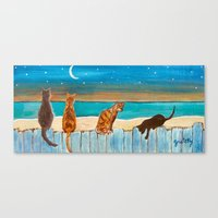 Cats On A Fence Canvas Print