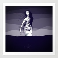 Woman in the ocean  Art Print