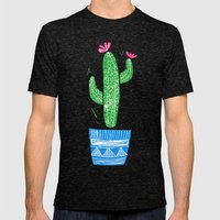 Linocut Cacti #2 in a pot Mens Fitted Tee Tri-Black SMALL
