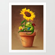 Sunflower&Dragon Art Print