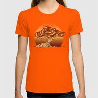 Stylized Tree Womens Fitted Tee Orange SMALL