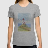 Peaceful Lighthouse Womens Fitted Tee Athletic Grey SMALL