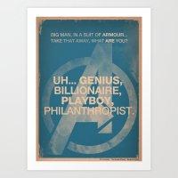 Tony Stark From The Aven… Art Print